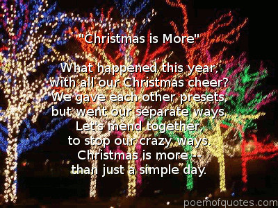 Christmas is More poem