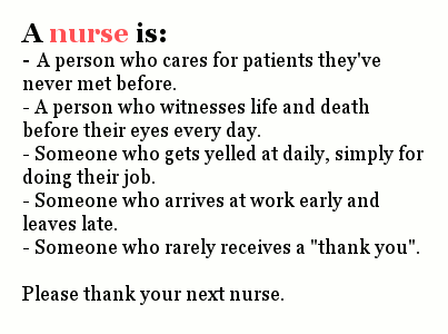 Tell your nurse 'thank you'.